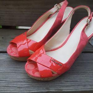 Coach High Heel Wedge Sandals